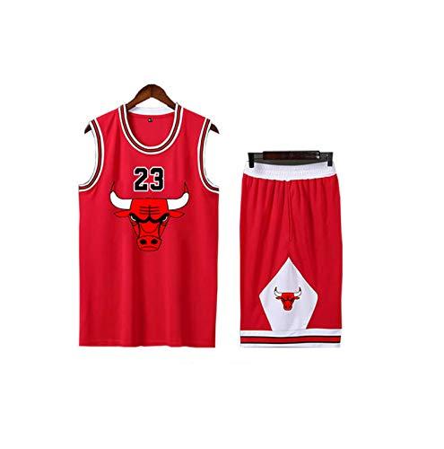 Boy's and Girl's Basketball Jersey, Suitable for Bulls 23# Jordan Basketball Shirt, Memorial Edition Basketball Uniform Set red-L