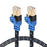 YXFYXF Tipo de Moda Chapado en Oro CAT7-2 CAT7 Plana Ethernet de 10 Gigabit Bicolor Trenzado del Cable de LAN de la Red de módem de Red LAN del Router, con Conectores RJ45 Blindados, Longitud: 2m.