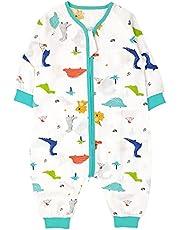 Bebé Saco de Dormir con Pies Verano Pijama Manga Larga Mono Muselina de Algodón Transpirable Mamelucos Niños Niñas Unisex 2-5 años