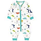 Bebé Saco de Dormir con Pies Verano Pijama Manga Larga Mono Muselina de Algodón Transpirable Mamelucos Niños Niñas Unisex 3-4 años Dinosaurio azul
