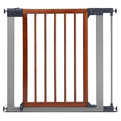 Munchkin Wood & Steel Pressure Mounted Baby Gate for Stairs, Hallways and Doors, Walk Through with Door, Wood/Light Silver Metal