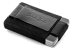 JAIMIE JACOBS Nano Boy Mini Wallet Mini Geldbörse aus Textil Kleiner Geldbeutel Slim Wallet mit Zugband Kartenhalter Mini-Portmonee, Kartenetui für Herren und Damen (Schwarz)
