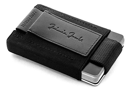 JAIMIE JACOBS Nano Boy Vegan Mini Geldbörse aus Textil Veganer Mini Wallet, Kleiner Veganer Geldbeutel, Mini-Portemonnaie für Herren (Schwarz)