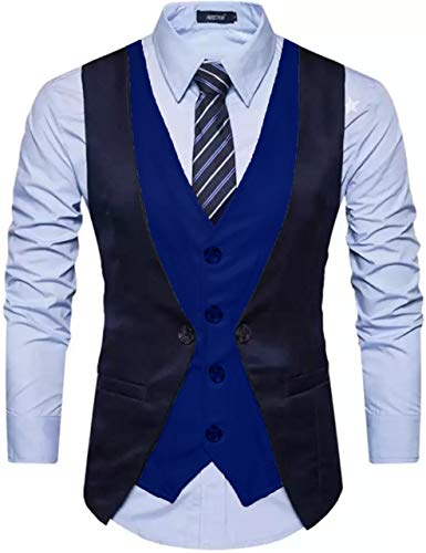 House of Sensation Mens Formal Fashion Layered Vest Waistcoat Dress Suit Vests Navy Blue and Royle Blue