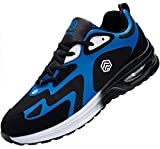Fenlern Zapatillas de Seguridad Hombre Ligeras Zapatos de Seguridad Trabajo Punta de Acero Calzado de Seguridad con Colchón de Aire (Azul Marino,42 EU)