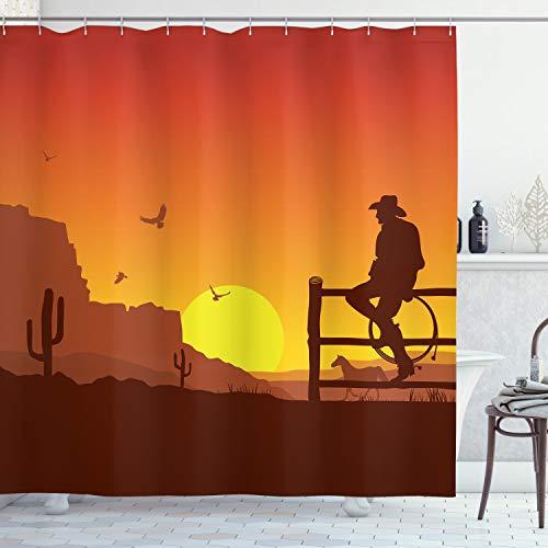 ABAKUHAUS amerikanisch Duschvorhang, Wild West Sunset Szene, Wasser Blickdicht inkl.12 Ringe Langhaltig Bakterie & Schimmel Resistent, 175 x 180 cm, Orange Gelb