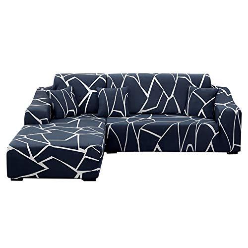 SearchI Funda Elástica para Sofá Chaise Longue,Extraíbles y Lavables,Cubre Sofá Chaise Longue Estampada Antideslizante,Funda Protectora para Sofá en Forma de L 2 Piezas(Azul Mate,3 Plazas+3 Plazas)