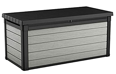 Keter Denali 150 Gallon Resin Large Deck Box - Organization and Storage for Patio Furniture, Outdoor Cushions, Garden Tools and Pool Toys, Grey & Black