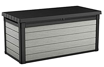 Keter Denali 150 Gallon Resin Large Deck Box-Organization and Storage for Patio Furniture Outdoor Cushions Garden Tools and Pool Toys Grey & Black