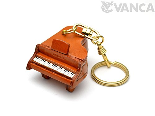 Piano Music/Instrument 3D Leather Keychain(L) VANCA Craft-Collectible Keyring Charm Pendant Made in Japan