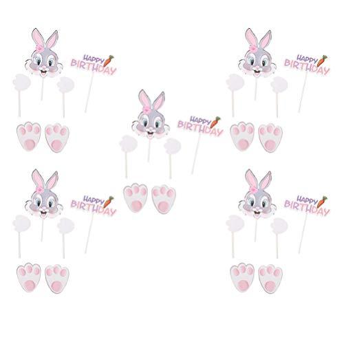 jojofuny 5 Satz Ostern Kaninchen Cupcake Topper Cartoon Hase Karottenmuster Papier Kuchen Pick Kucheneinsatz Karte Foto Prop Obst Dessert Pick für Home Shop