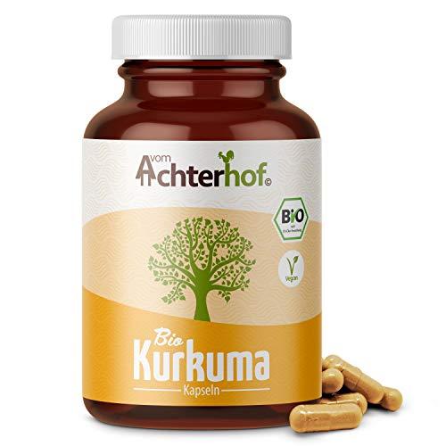 Bio Kurkuma Kapseln hochdosiert (180 Stück) 600mg Curcuma Kapseln - ohne Zusätze - vegan - laborgeprüft - direkt vom-Achterhof