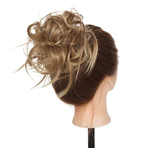Chignon Elastico Capelli Extension Finti Posticci Ricci Messy Hair Bun Updo Ponytail Extensions Coda di Cavallo Ciambella 45g, Marrone Chiaro mix Biondo Naturale