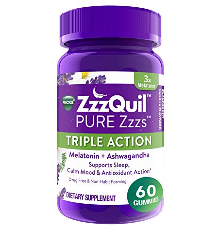 ZzzQuil PURE Zzzs Triple Action Gummy Melatonin Sleep-Aid with Ashwagandha, 60 Gummies, 6mg per Serving