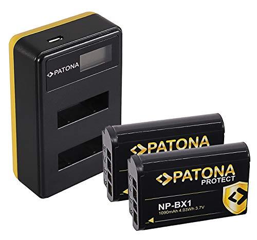 PATONA Cargador Doble LCD USB con 2X Protect Bateria NP-BX1, Carcasa V1 Compatible con Sony CyberShot DSC RX100, RX1r, RX100MII, WX300