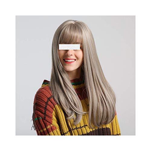 Perruques Y DWANYE 20 Pouces Mode Longue Ligne Droite Perruques for Les Femmes Ash Blonde Natural Color Doux Cheveux avec Bangs