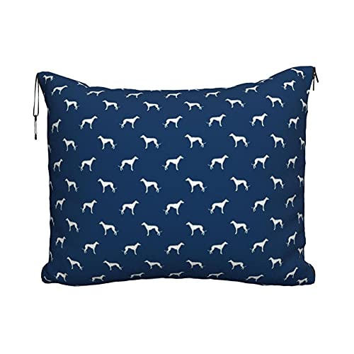 Manta de viaje portátil 2 en 1 para sofá de avión, para coche, oficina, hogar, dormir, siesta, silueta de perro de galgo azul marino