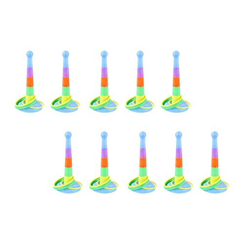 NUOBESTY 10 Sets of Kids Outdoor Games Ring Toss Game Plastic Rainbow Cone Pole for Kids Birthday Party Favor Supplies (Random Color)