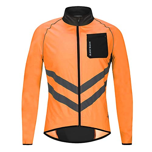 WOSAWE Cycling Jacket MTB Windproof Waterproof Lightweight Coat with Reflective Strip for Motorbike Racing Riding (BL218 Orange M)