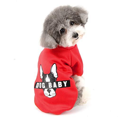 Zunea Ropa de Invierno para Perros Pequeños Cálido Abrigo Jersey Suéter de Algodón Acolchado para Cachorros Mascotas Chihuahua Yorkshire Gatos Sudadera para Clima Frío Rojo M