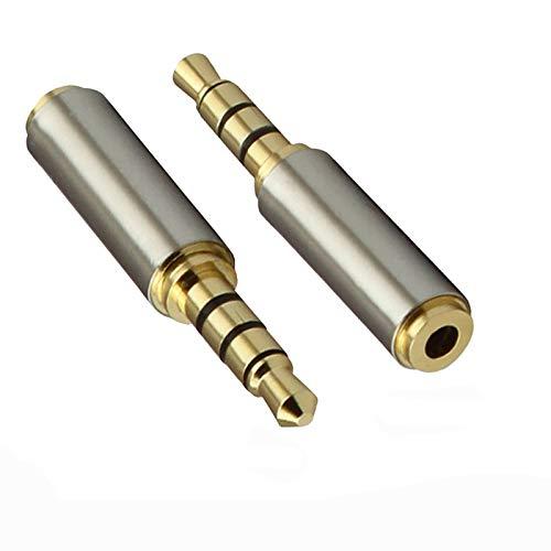 3.5mm Male to 2.5mm Female Audio Adapter, (2 Stück) Kopfhörer Audio Kopfhörer Konverter Adapter Klinkenstecker Verlängerung, 3.5mm Audio Stecker auf 2.5mm Buchse Stereo Audio AUX