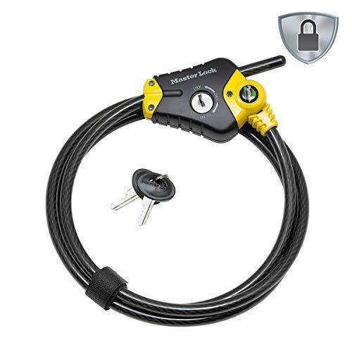 Master Lock 8420EURD Verstellbares Kabelschloss mit Schüsselschloss [Kabel einstellbar von 30 cm bis 4,5 m] [Python] - Ideal für Sportausrüstung, Werkzeuge und Gartenmöbel
