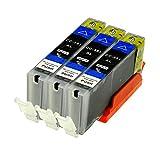 3 Logic-Seek Druckerpatronen kompatibel für Canon CLI-551BK XL IP-7250 8750 IX-6850 MG-5450 5550 6350 6450 7150 MX-725 925, Black