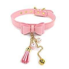❤️ MATRERIAL: PU leather necklace choker collar, sturdy and non-toxic ❤️ SIZE: Total length 19.5 inches, 0.79 inch in width,100% adjustable ❤️ SHIPPING: Prime shipping offers you more faster delivery ❤️ PLEASURE: Splendid leather kitty collar better ...