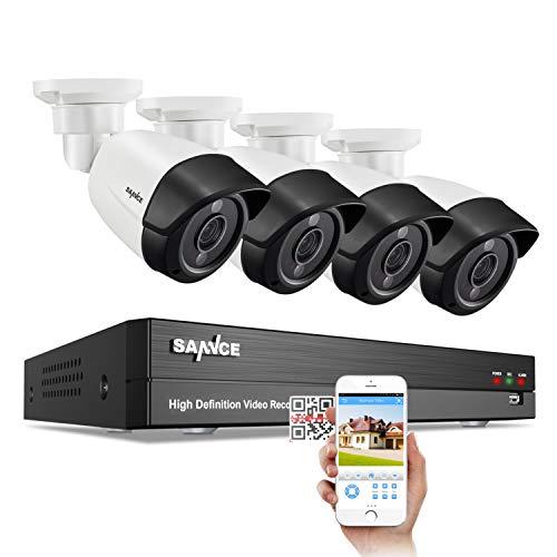 SANNCE Juego de cámaras de vigilancia de 8 canales, 5 MP, 4 x 5 MP, IP66, resistente al agua y...