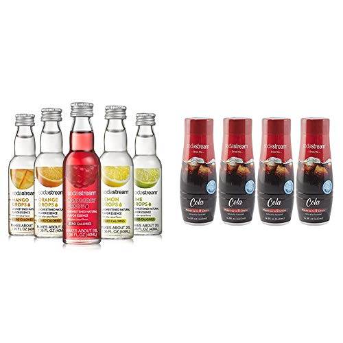 SodaStream Fruit Drops Variety Pack, 1.67 Pound & Cola, 440ml 4-Pack