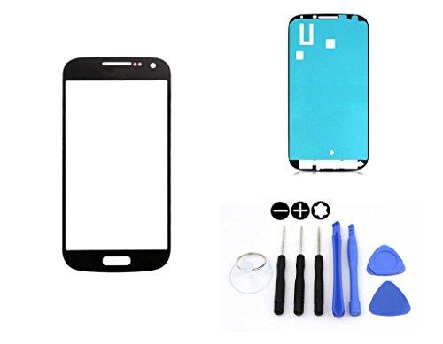 R.P.L. FRONTGLAS SET passend für SAMSUNG Galaxy S4 mini Schwarz Black i9195 / Frontglas / Glas / Displayglas / LCD Reparatur / LCD Display / Klebefolie / Glass Replacement / 8 - Teiliges Werkzeugset TOOLS