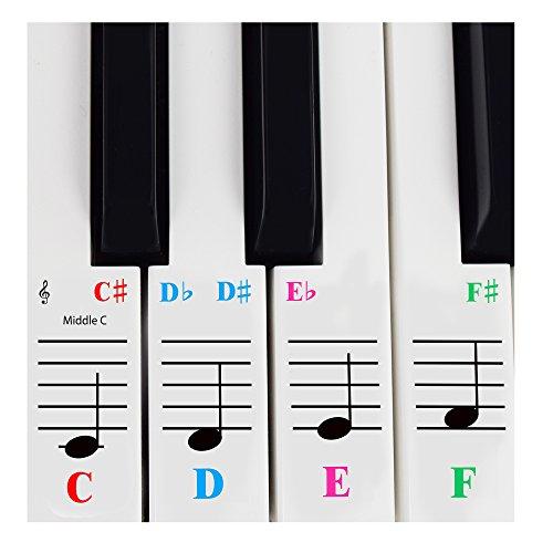 Pegatinas para pianos de 61 teclas; transparentes y extraíbles. Viene con libro electrónico gratis para aprender piano. Fabricado en EE. UU.(Idioma español no garantizado)