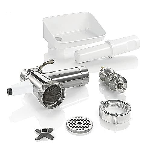 Bosch Fleischwolf MUZ5FW1, Fleischwolf-Aufsatz, Stopfer, Edelstahl Loch-Scheibe 4,5 mm, auch für Fisch und Gemüse, passend für MUM5 Küchenmaschine