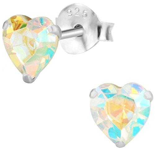 Hypoallergenic Sterling Silver Aurora Borealis Crystal Heart Stud Earrings for Kids (Nickel Free) (Crystal Heart Post Earrings)
