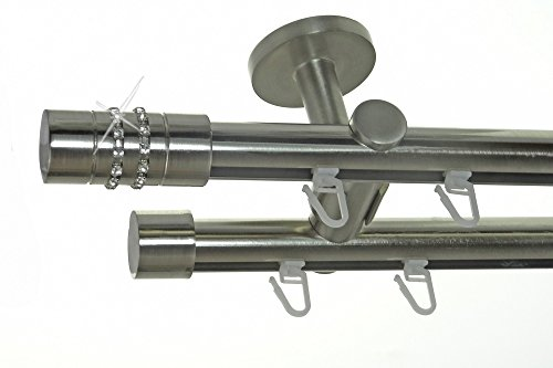 BASIT Innenlauf Gardinenstange Edelstahl Look 20mm Deckenbefestigung, 2-läufig Kristall, Länge wählbar D40 E80E30, Länge:120 cm