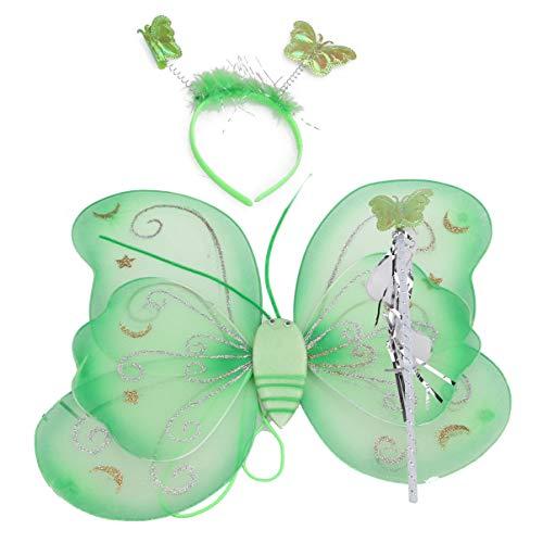 SUPVOX alas de Mariposa para niños con Diadema Varita para Fiesta de cumpleaños Halloween Favor tutú 1 Juego (Verde)