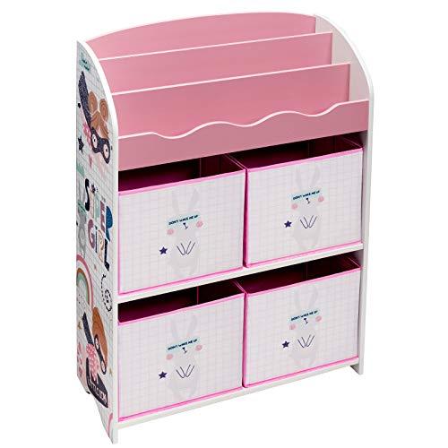 EUGAD Scaffale Portagiochi per Bambini Libreria per Bimbi con 4 Scatole Porta Giocattoli Mobiletto Portaoggetti con Contenitore per Cameretta Rosa 0003ETSJ