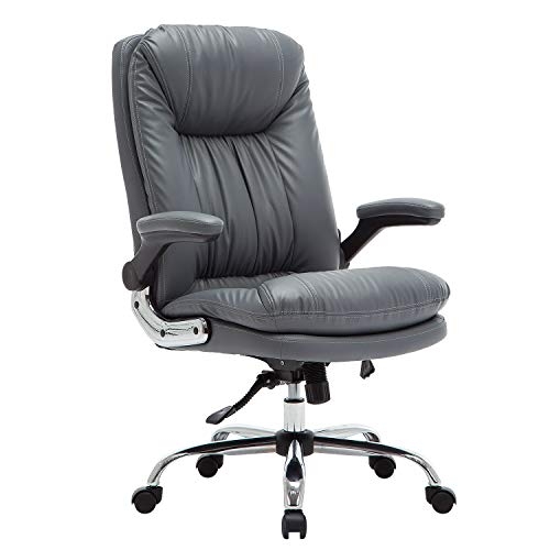 B2C2B High Back Ergonomic Home Office Chair - Leather Computer Executive Desk Chair Modern Racing Chair Adjustable with Flip-up Arms Lumbar Support 300lbs Gray