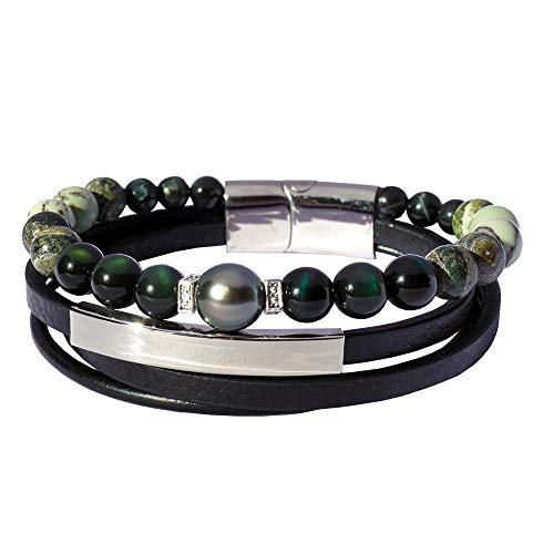 Inspiración celeste: Pulsera para hombre de lujo perla de Tahití y obsidiana BRO8551