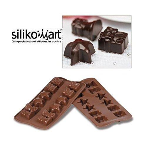 silikomart Easy Choc Moule à chocolat en silicone (12 figurines 34 x 34 cm et 18,5 mm)