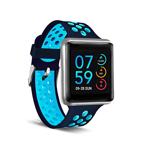 iTouch Air SE Smartwatch & Activity Tracker. Heart Rate Monitor, Sleep Step Tracker. Water Resistant Smart Watch for Women & Men, Compatible with Android & iOS, Silver Case Navy/Turquoise Strap, 45MM