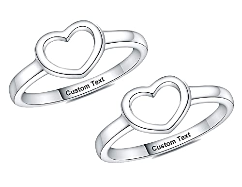 YUOTO Matching Friendship Rings for 2 Best Friends,Engraved Heart Ring for Women Personalized,Cute Pinky BFF Rings for 2 Teen Girls Sterling Silver,Promise Rings for Besties Forever