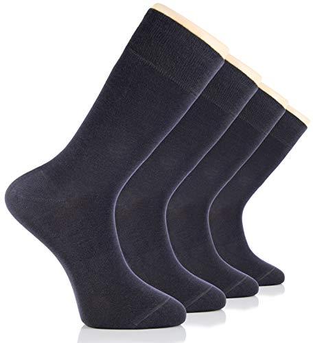 Hugh Ugoli Men's Bamboo Dress Socks Seamless Toe Business Crew Men Thin Socks, Charcoal Grey, 4 Pairs, Shoe Size: 8-12