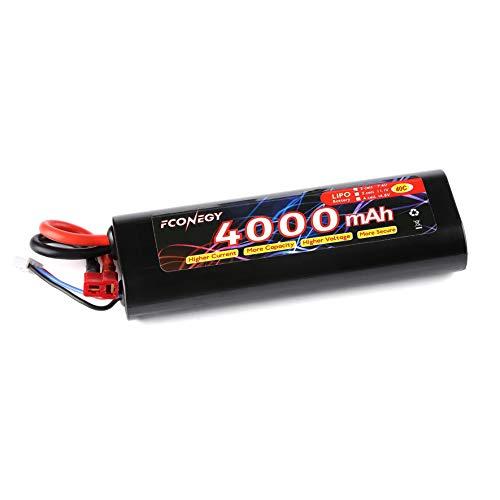 FCONEGY 7.4V 4000mAh 2S 40C RC Akku LiPo Batterie Wiederaufladbar Lithium Batterien mit Deans T Stecker Modellbau Akkupack für RC Auto Boot Truck LKW Car Batterien