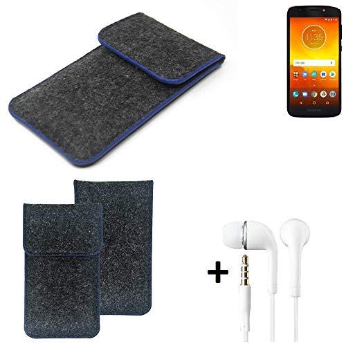 K-S-Trade Filz Schutz Hülle Für Motorola Moto E5 Dual SIM Schutzhülle Filztasche Pouch Tasche Handyhülle Filzhülle Dunkelgrau, Blauer Rand Rand + Kopfhörer