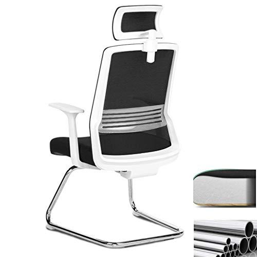 DJPP Bow Computer Chair Home Einfacher Hocker Rücken Stuhl Arbeitsstuhl Bürostuhl Firma Staff Chair Armchair,Weiß,46 X 44 X 111 cm