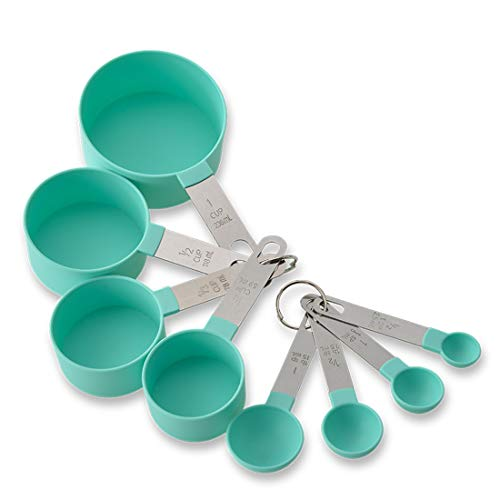 Liberty baking plastic measuring cup measuring spoon 8piece set stainless steel handle measuring cup graduated measuring cup set Green