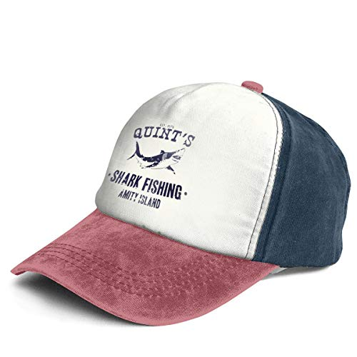 Quint's Shark Fishing Trend Printing Cowboy Hat Fashion Baseball Cap for Men and Women Navy and Red