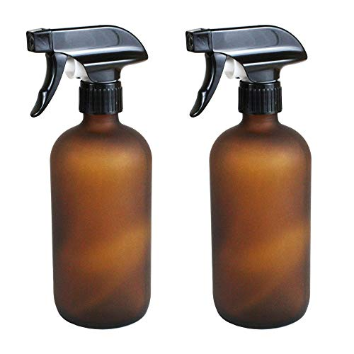 Frosted Glass Amber Spray Bottles Reusable, Durable Glass, UV Protection for your DIY Cleaners, Air Fresheners Deodorizers, Disinfectants, Pest Bug Sprays, Essential Oils, etc. 2 Pack, 16oz each