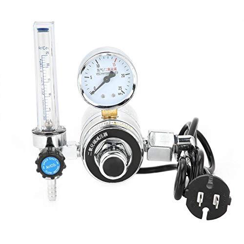 Regulador de presión de seguridad, regulador de presión de CO2 de soldadura de acero inoxidable con calefacción eléctrica, confiable para equipos de soldadura de protección contra gas(220V)